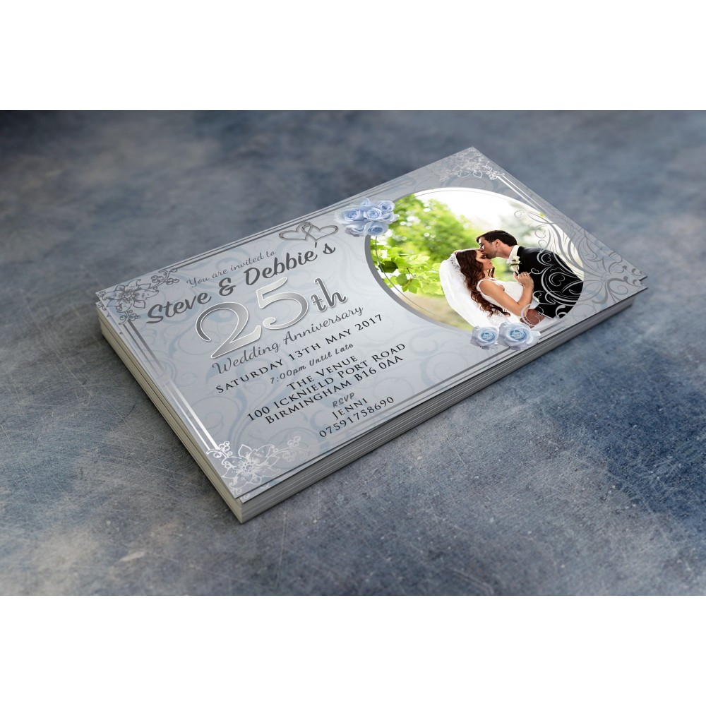 25th Wedding Invitations & Envelopes - Design No 11