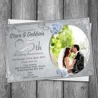 25th Wedding Invitations & Envelopes - Design No 11