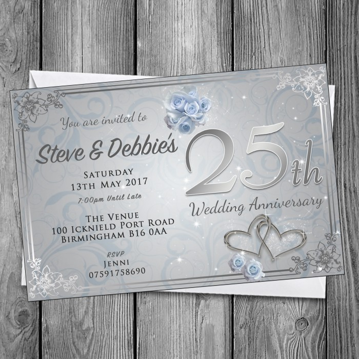 25th Wedding Invitations & Envelopes - Design No 12