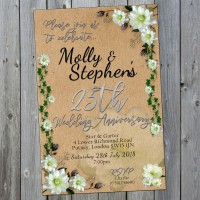 25th Wedding Invitations & Envelopes - Design No 16