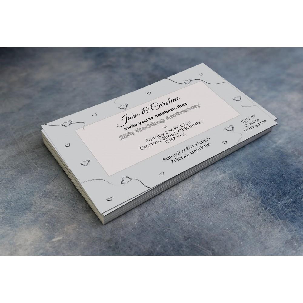 25th Wedding Invitations & Envelopes - Design No 6