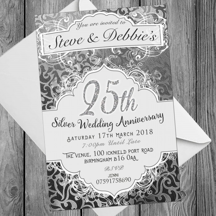 25th Wedding Invitations & Envelopes - Design No 8