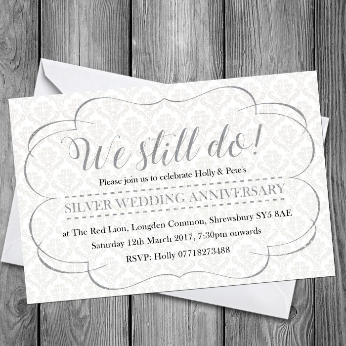 25th Wedding Invitations & Envelopes - Design No 9