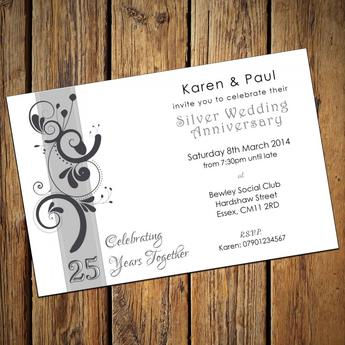 25th Wedding Invitations & Envelopes - Design No 1