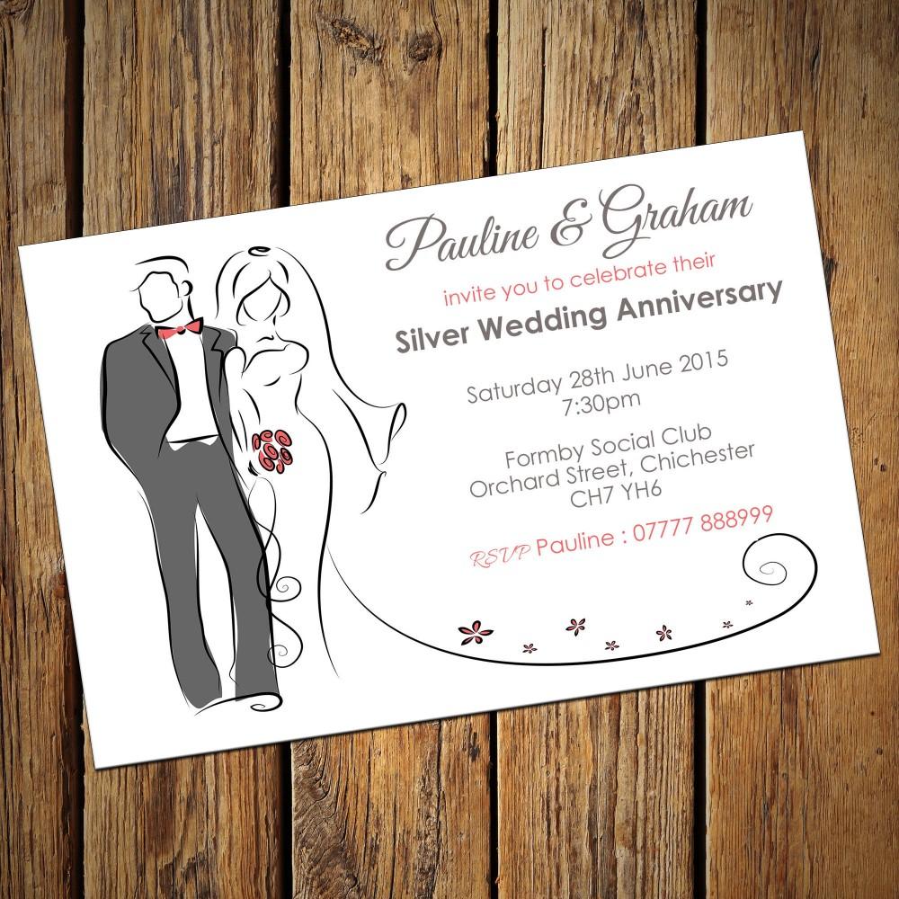 25th Wedding Invitations & Envelopes - Design No 5