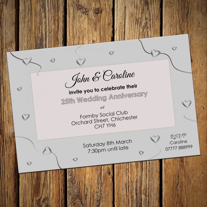 25th Wedding Invitations & Envelopes - Design No 6