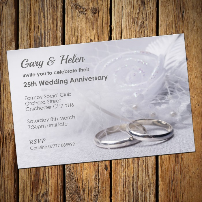 25th Wedding Invitations & Envelopes - Design No 7