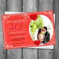40th Wedding Invitations & Envelopes - Design No 10