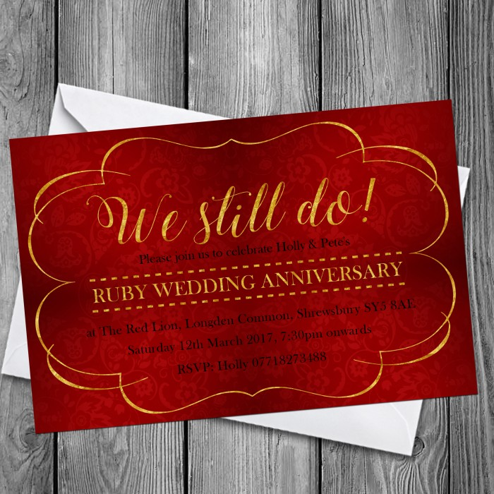 40th Wedding Invitations & Envelopes - Design No 12