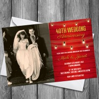 40th Wedding Invitations & Envelopes - Design No 13