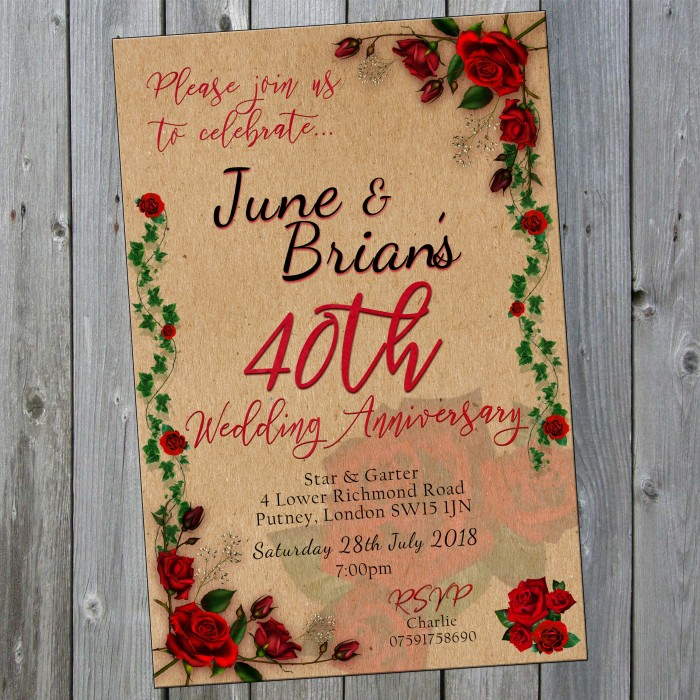 40th Wedding Invitations & Envelopes - Design No 16