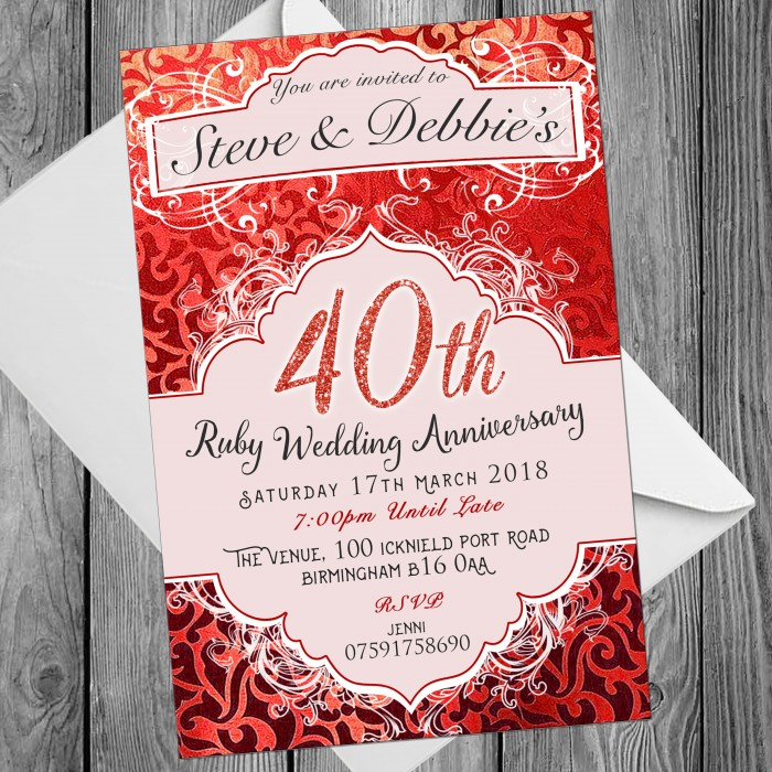 40th Wedding Invitations & Envelopes - Design No 5