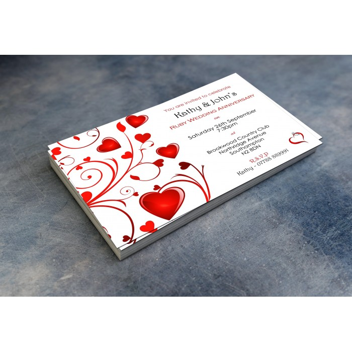 40th Wedding Invitations & Envelopes - Design No 7