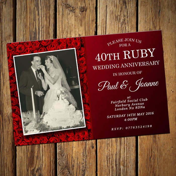 40th Wedding Invitations & Envelopes - Design No 9