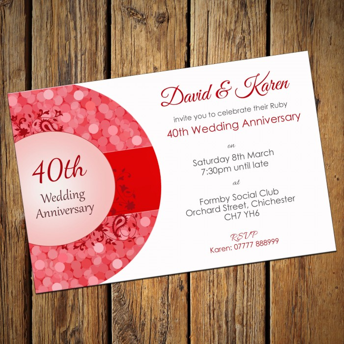 40th Wedding Invitations & Envelopes - Design No 1
