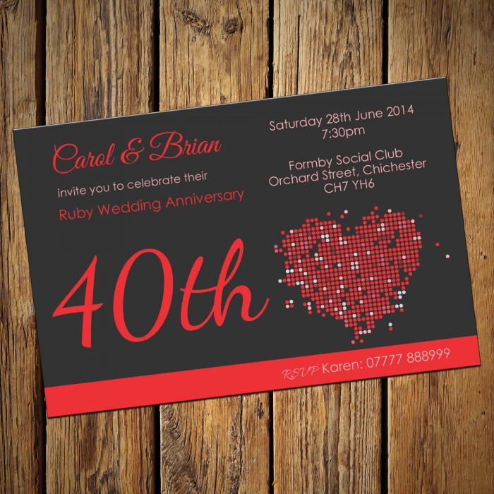 40th Wedding Invitations & Envelopes - Design No 4