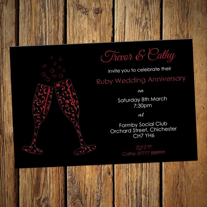 40th Wedding Invitations & Envelopes - Design No 6