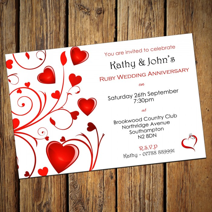 40th Ruby Wedding Anniversary Invitations