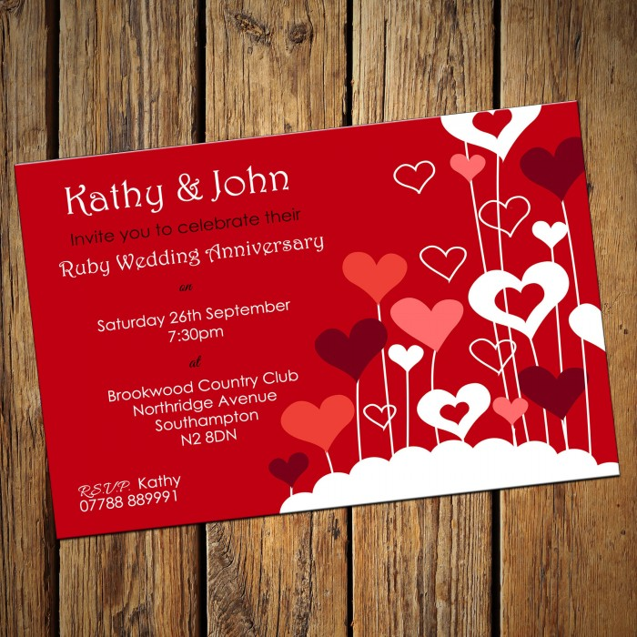 40th Wedding Invitations & Envelopes - Design No 8