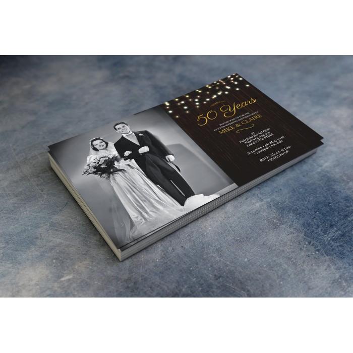50th Wedding Invitations & Envelopes - Design No 10
