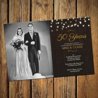 50th Wedding Invitations & Envelopes - Design No 10