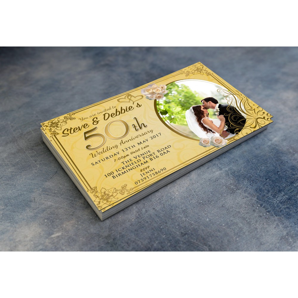 50th Wedding Invitations & Envelopes - Design No 11
