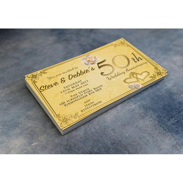 50th Wedding Invitations & Envelopes - Design No 12