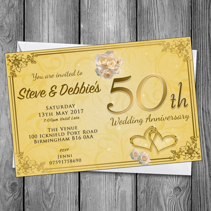 50th Wedding Invitations & Envelopes - Design No 12