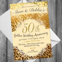 50th Wedding Invitations & Envelopes - Design No 14