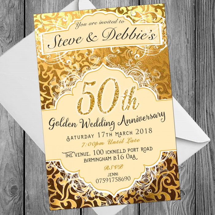 50th Wedding Invitations & Envelopes - Design No 14