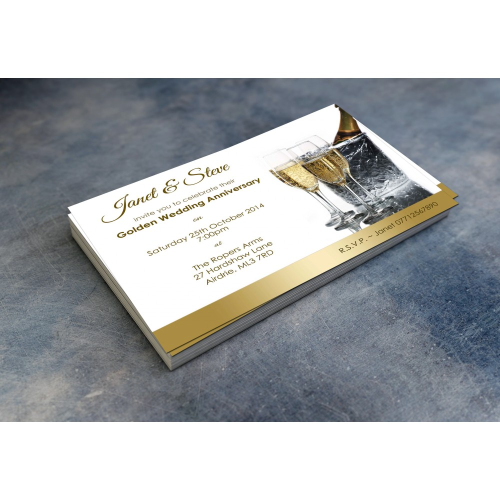 50th Wedding Invitations & Envelopes - Design No 5