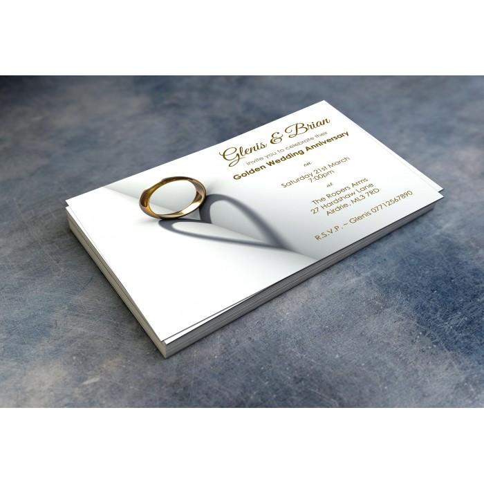 50th Wedding Invitations & Envelopes - Design No 6