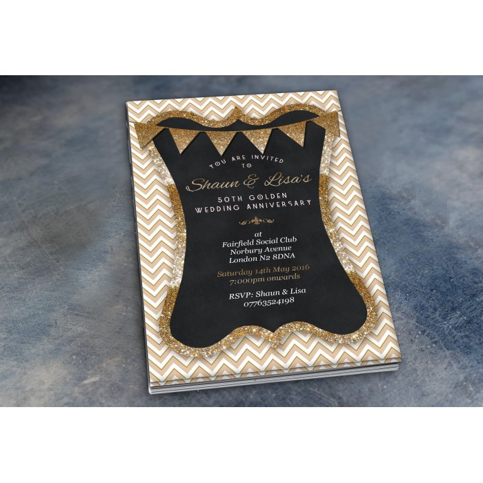 50th Wedding Invitations & Envelopes - Design No 8