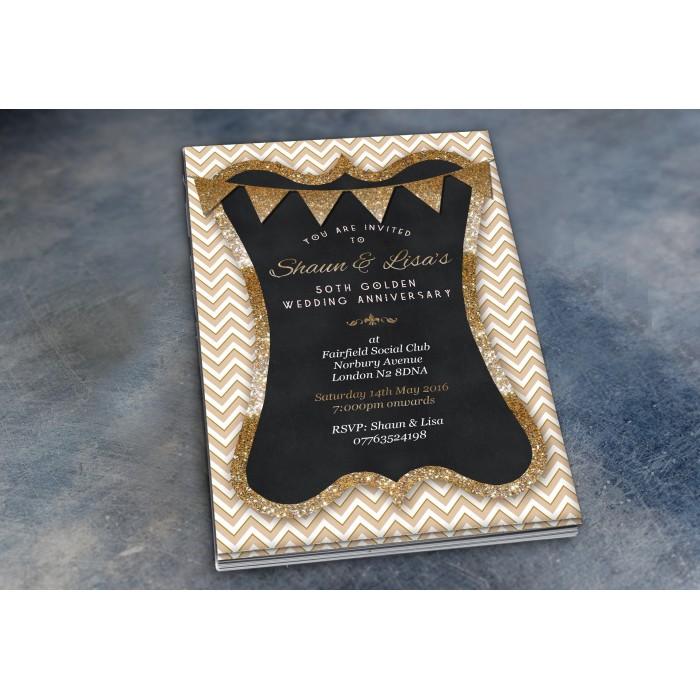 50th Wedding Invitations & Envelopes - Design No 8