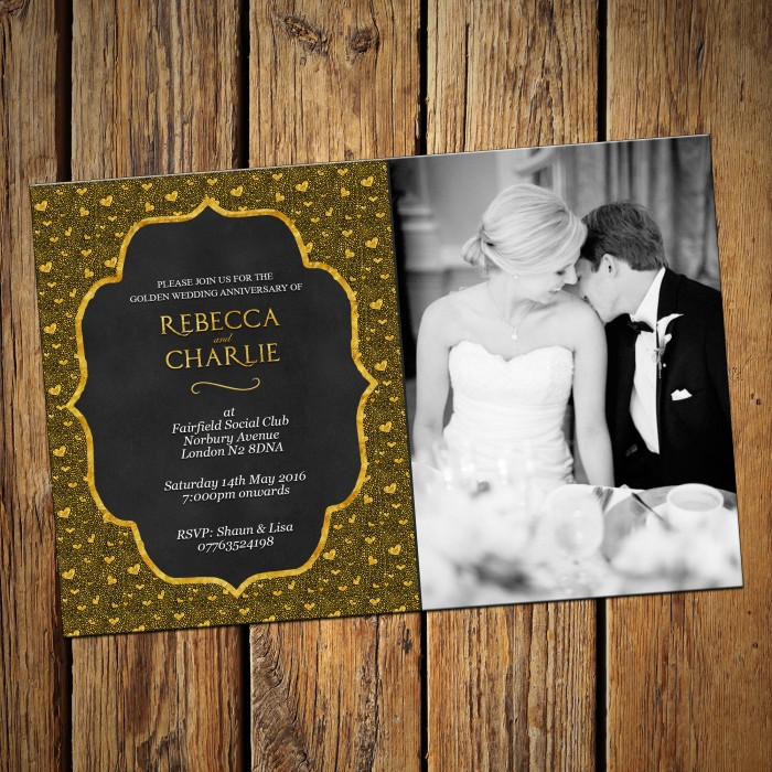 50th Wedding Invitations & Envelopes - Design No 9