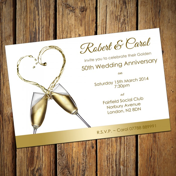 50th Wedding Invitations & Envelopes - Design No 1