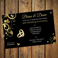 50th Wedding Invitations & Envelopes - Design No 3