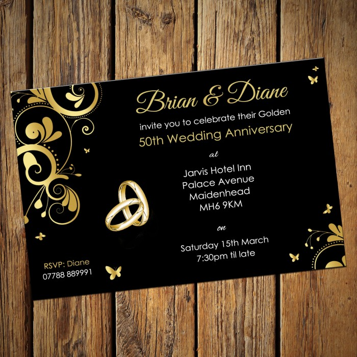 Golden Wedding Invitation Cards