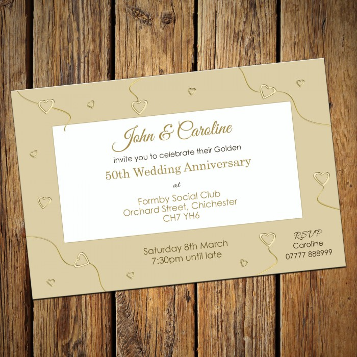 50th Wedding Invitations & Envelopes - Design No 4