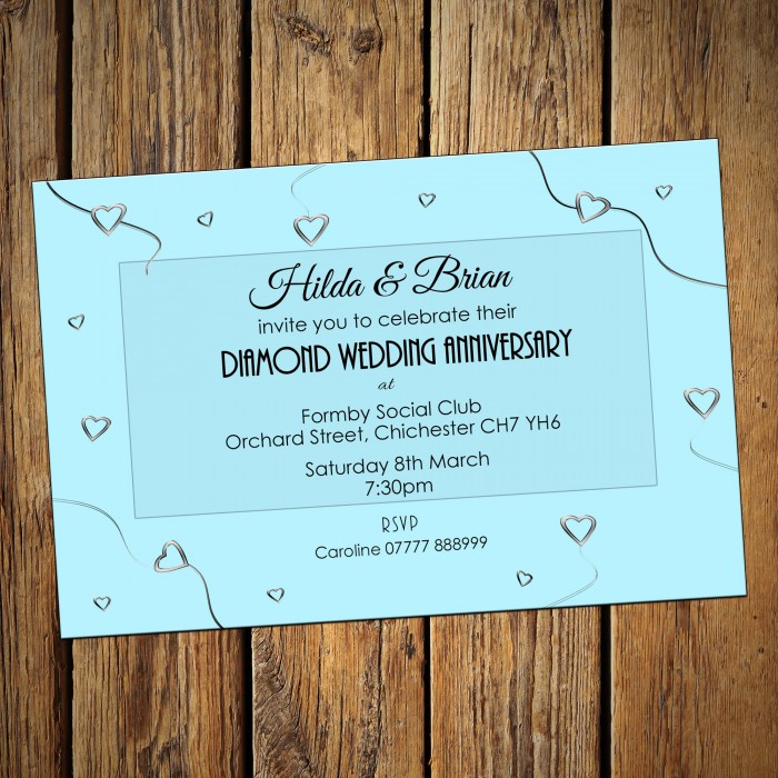 60th Wedding Invitations & Envelopes - Design No 5