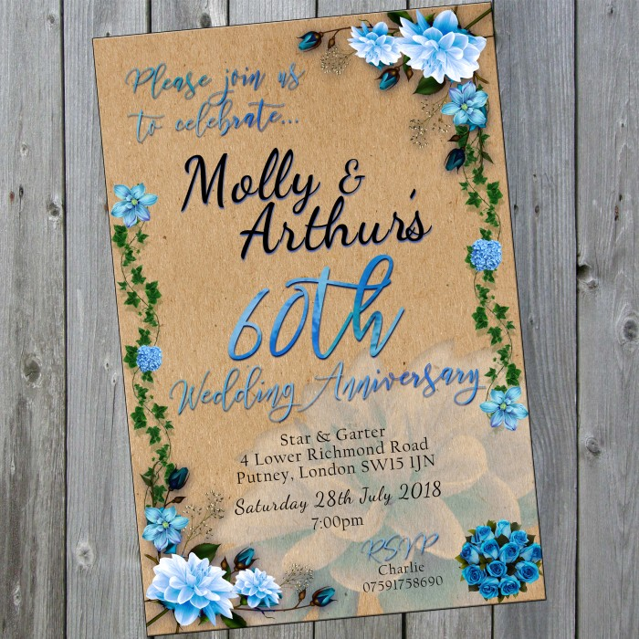 60th Wedding Invitations & Envelopes - Design No 9