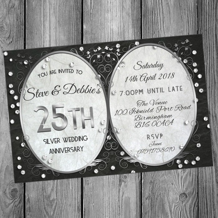 25th Wedding Invitations & Envelopes - Design No 14