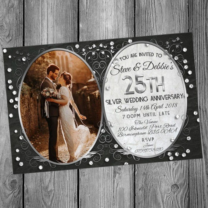 25th Wedding Invitations & Envelopes - Design No 15