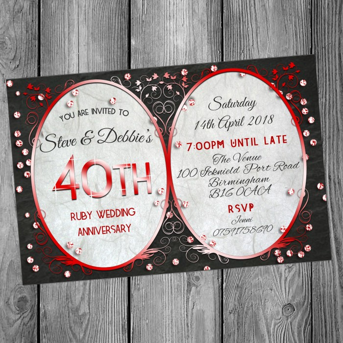 40th Wedding Invitations & Envelopes - Design No 14