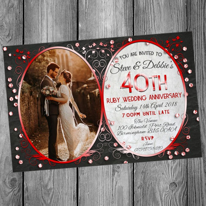 40th Wedding Invitations & Envelopes - Design No 15