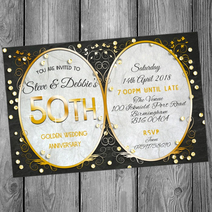 50th Wedding Invitations & Envelopes - Design No 15