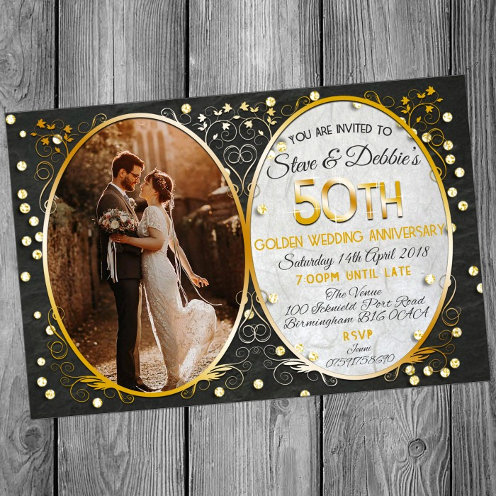 50th Wedding Invitations & Envelopes - Design No 16
