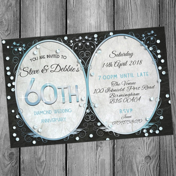 60th Wedding Invitations & Envelopes - Design No 7