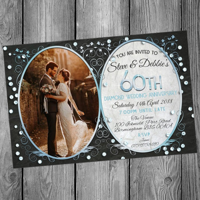 60th Wedding Invitations & Envelopes - Design No 8