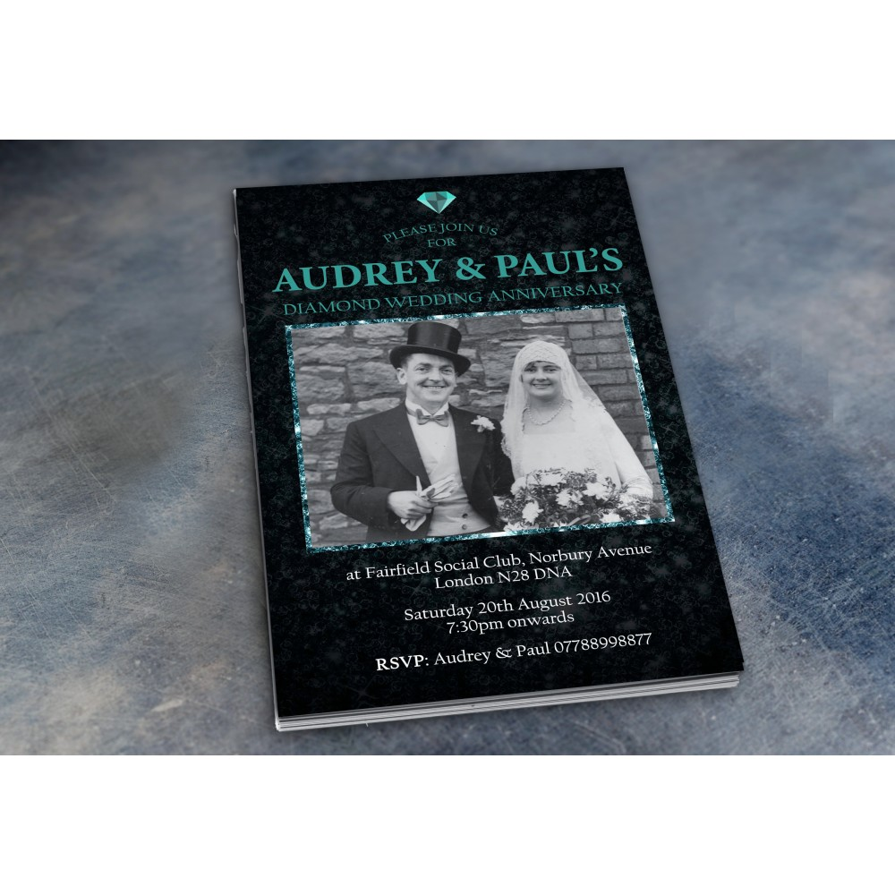 60th Wedding Invitations & Envelopes - Design No 1